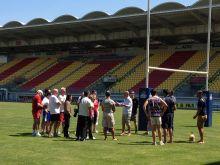 Supergroup. Journée d'étude au coeur du rugby à 13 vec les joueur des dragons catalans. Travail, déjeuner, visite du stade, incentive rugby et photos avec les joueurs.